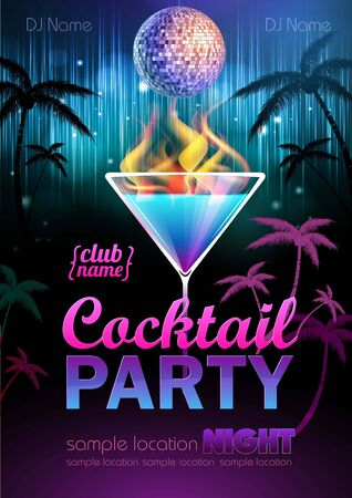 beach party: Disco background. Cocktail party poster