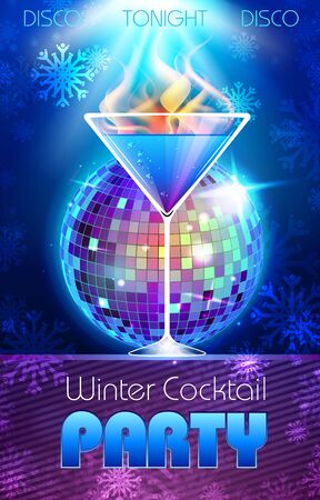 fire and ice: Disco background. Winter Cocktail party poster