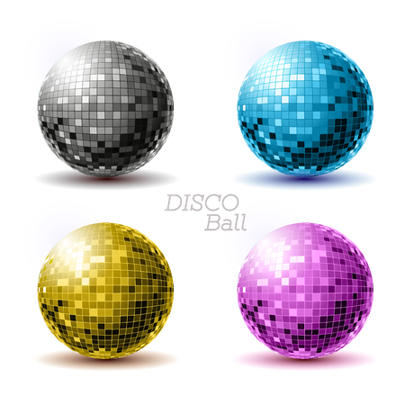 Set of disco ballls. Disco background