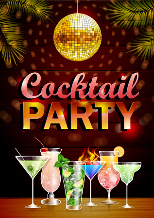 Vintage poster. Disco cocktail party