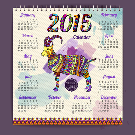 Calendar 2015 design with goat. Watercolor background