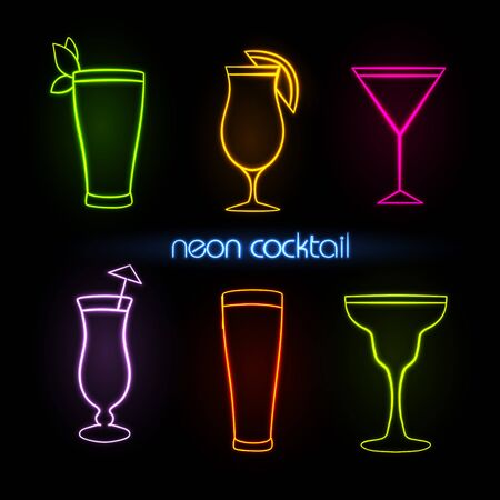 Neon sign. Cocktail