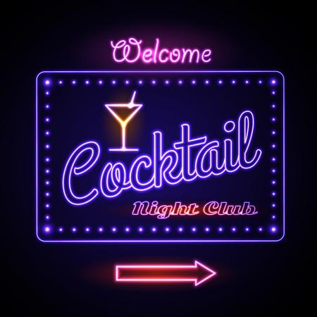 Neon sign. Cocktail bar Illustration