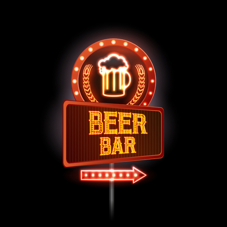 Neon sign. Beer bar