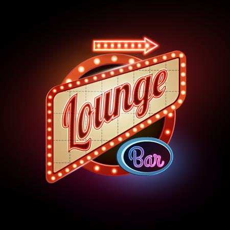 Insegna al neon. Lounge bar
