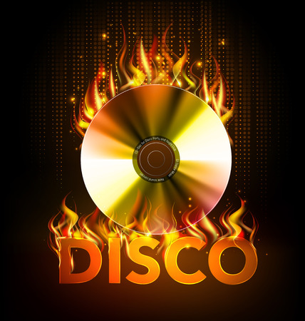 Disco fire Hard rock background. Burning Disck or record Reklamní fotografie - 79529547