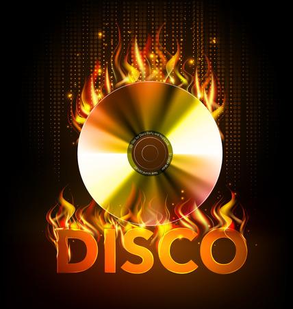 Disco fire Hard rock background. Burning Disck or record Illustration