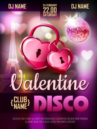 door lock love: Disco Valentine background. Disco poster Illustration