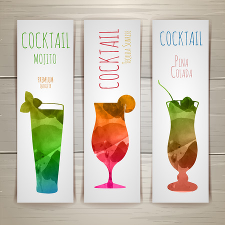 Set of watercolor cocktail banners