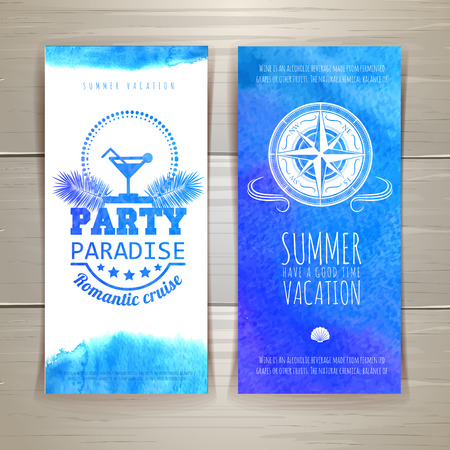 compass rose: Set of blue watercolor summer banners Illustration