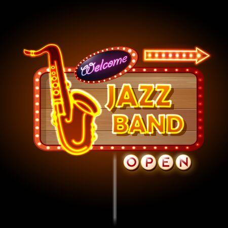 Neon sign Jazz band Illustration