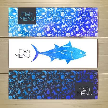 Set of fish seafood banners. Document template Illustration