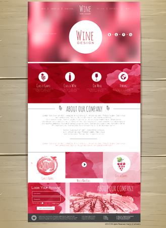 vineyard sunset: Wine concept web site design. Corporate identity Illustration