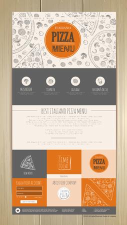Sketch pizza concept web site design. Corporate identity Illustration
