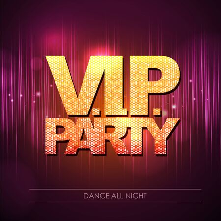 Typography Disco background. VIP party