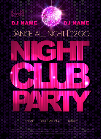 nighttime: Disco background. Disco poster. Night club party Illustration