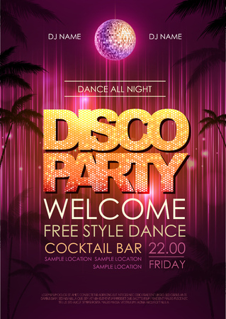 nighttime: Typography Disco background. Disco party poster