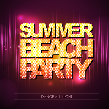 nighttime: Typography Disco background. Summer beach party