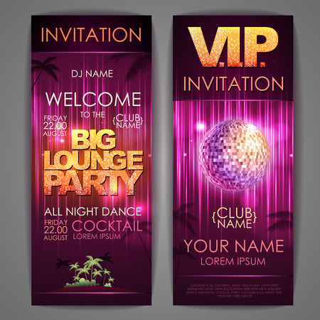nighttime: Set of disco background banners. Big lounge party poster