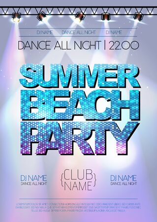 nighttime: Disco background. Summer beach party poster Illustration
