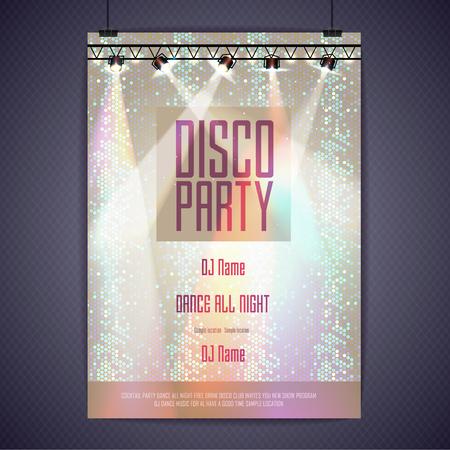 nighttime: Disco background. Disco poster Illustration