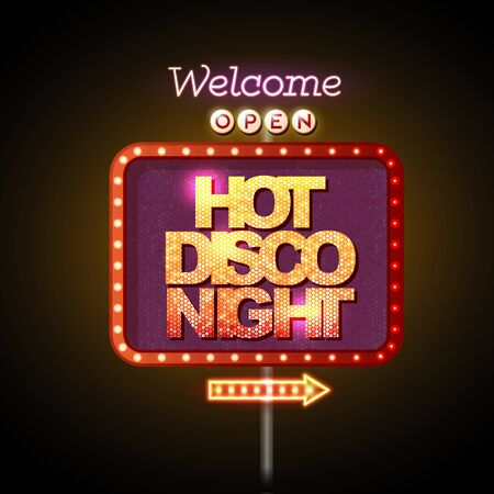 Neon sign hot disco night Illustration