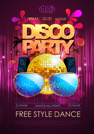 nighttime: Disco background. Disco party poster Illustration