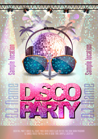 Disco background. Disco party poster  イラスト・ベクター素材