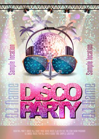 Disco background. Disco party poster Vectores