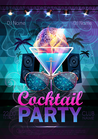 Disco ball background. Disco cocktail party poster on triangle background Vectores