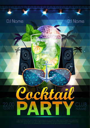 Disco ball background. Disco cocktail party poster on triangle background Illustration