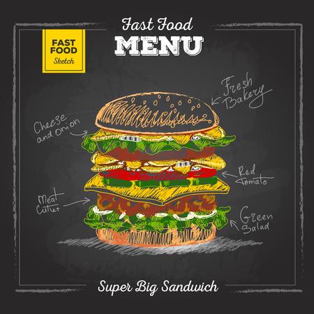 Vintage chalk drawing fast food menu. Sandwich Illustration