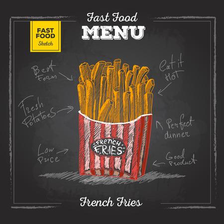 Vintage chalk drawing fast food menu. French fries sketch