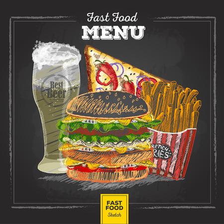 Vintage chalk drawing fast food menu.