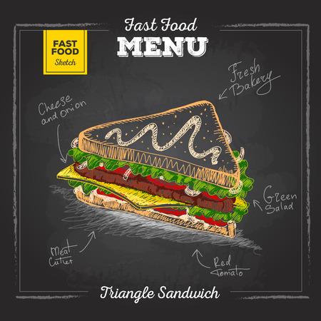 Vintage chalk drawing fast food menu. Sandwich sketch Illustration