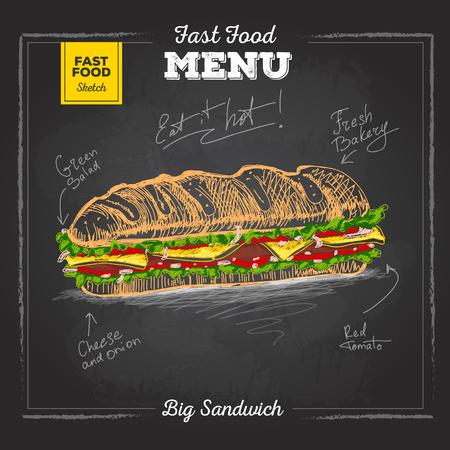 Vintage chalk drawing fast food menu. Sandwich sketch Ilustração