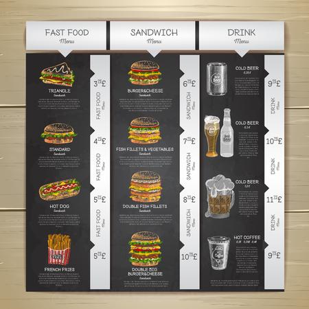 Gesso d'annata che disegna menu degli alimenti a rapida preparazione. Schizzo di sandwich Archivio Fotografico - 80495702