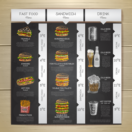 Vintage tiza dibujo menú de comida rápida. Bocadillo de sándwich