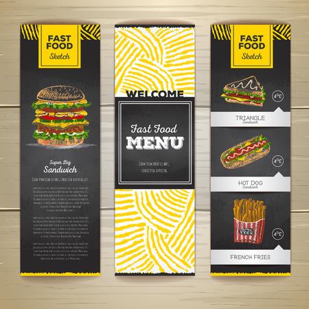 Set of vintage chalk drawing fast food menu banners. Sandwich sketch