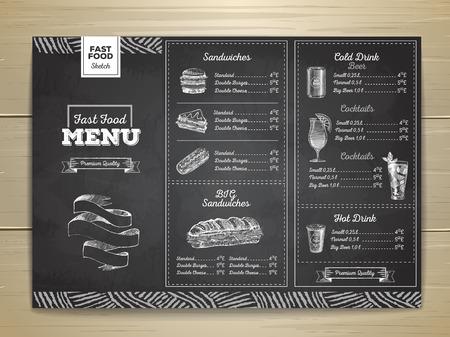 Vintage chalk drawing fast food menu. Sandwich sketch corporate identity Illustration
