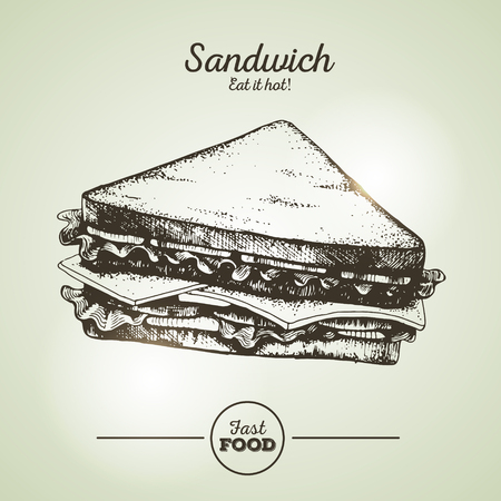 Vintage fast food sandwich sketch Illustration