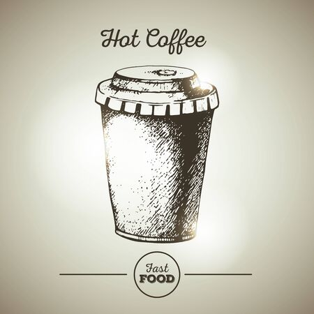 Vintage fast food cup of coffee sketch Illustration