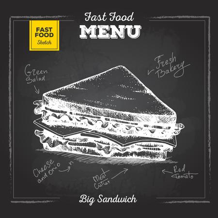 Vintage krijt tekening fastfood menu. Belegd broodje Stockfoto - 80791116