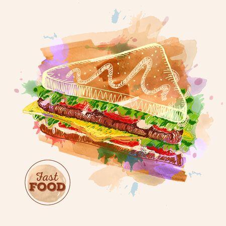 cheddar: Watercolor Hamburger or Sandwich Fast Food sketch
