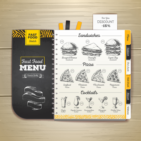Vintage chalk drawing fast food menu. Sandwich sketch corporate identity 向量圖像