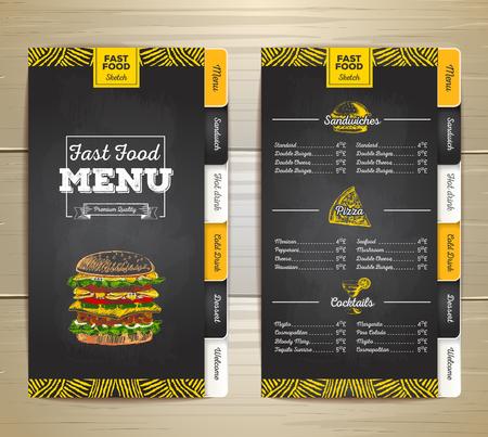 Vintage krijt tekening fast food menu ontwerp. Stock Illustratie