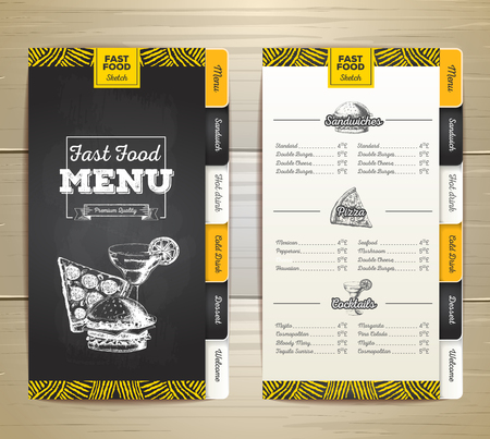 main dishes: Vintage chalk drawing fast food menu design.