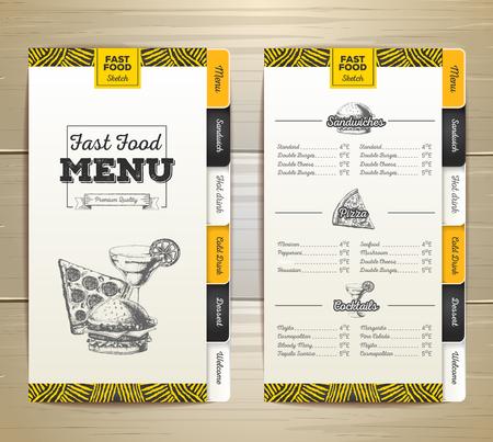 Vintage chalk drawing fast food menu design.
