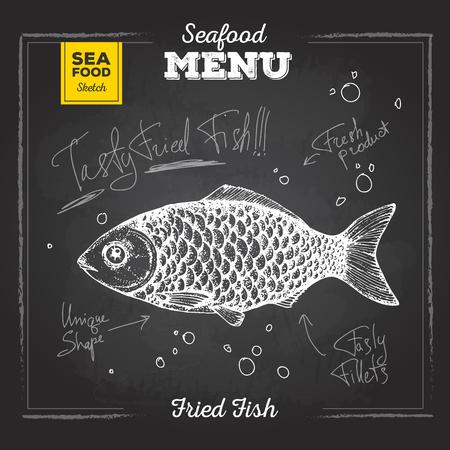 Chalk drawing sketch set of seafood. Fish illustration Stok Fotoğraf - 80839758
