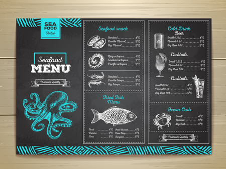 Vintage chalk drawing seafood menu design. Corporate identity